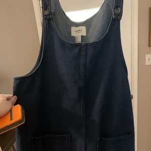 Blue jean overall mini dress with pockets